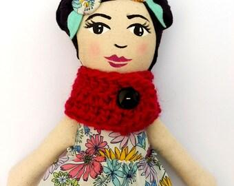 "SALE Asian Cloth Heirloom Doll, 18"" Black Hair Doll, Rag Doll READY to SHIP Asian Doll Soft Doll fabric doll christmas doll gifts under 60"