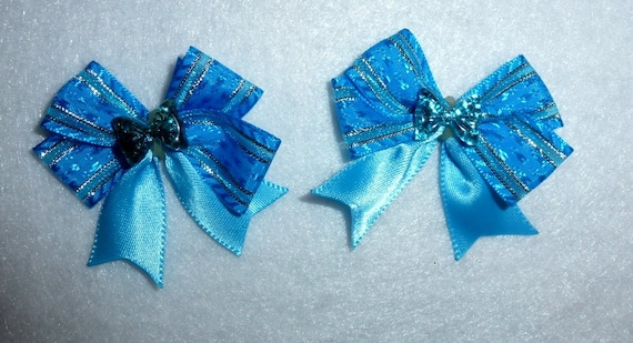 Puppy Bows ~ 2 blue silver small dog hair bow with fancy rhinestone center ~Usa seller (fb85)