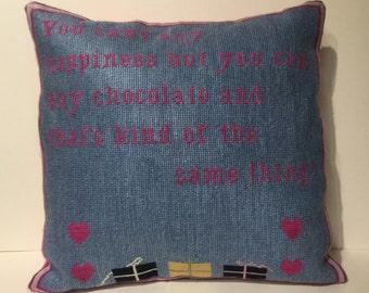 Chocolate needlepoint cushion pillow denim blue designer hand-made