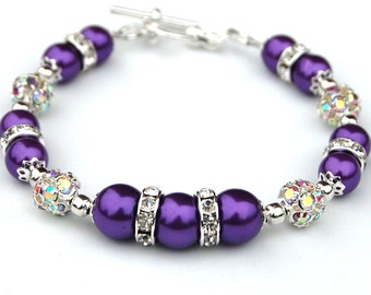 Purple Pearl Bracelet, Ultra Violet Wedding, Purple Bridesmaid Jewelry, Spring Wedding, Amethyst Bridesmaid