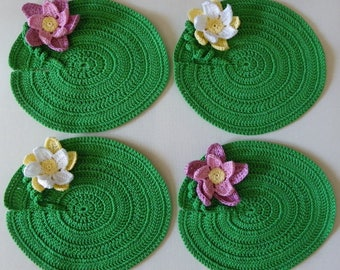 Set of 4 coasters, water lilies