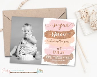 Sugar and Spice Birthday Invitation, Sugar and Spice and Everything Nice Invitation, Birthday Invitation, Watercolor Invitation, Blush