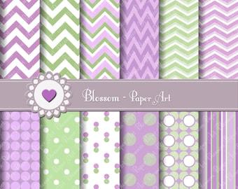 Digital Paper, Chevron Polka Dots Digital Paper Pack, Purple Green Violet, INSTANT DOWNLOAD - Scrapbooking - 1601