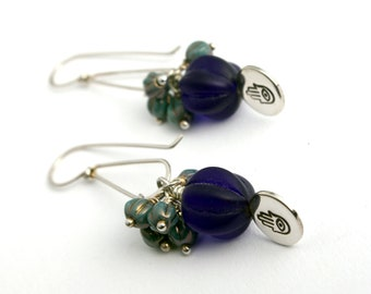 Hamsa Dangle Earrings in blue and turquoise