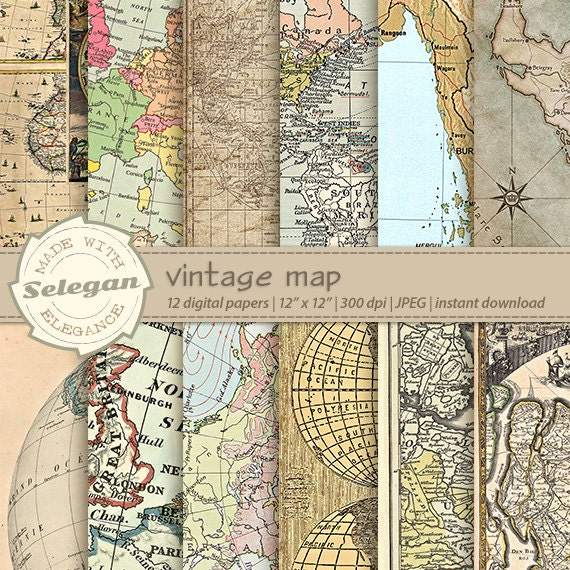 Old maps digital paper vintage map map digital paper antique old maps digital paper vintage map map digital paper antique maps world maps digital paper retro maps printable paper background from selegan on gumiabroncs Gallery