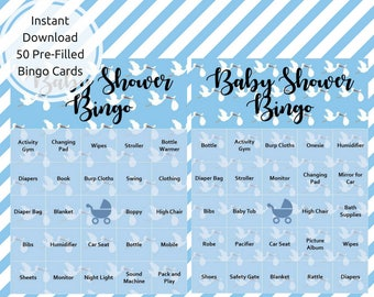 Baby Shower Bingo Game Cards | 50 Pre-filled Baby Shower Bingo Card | Instant Digital Download for Baby Shower Game