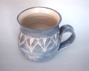 Handmade coffee mug grey on white stoneware
