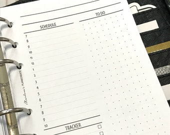 Day On One Page | DO1P| Hourly| Printed A6 Planner Inserts