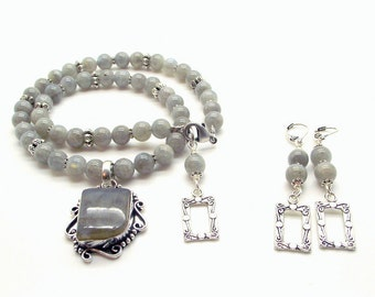 Gray Misty Morning Necklace and Earring Set, Labradorite Necklace and Earring Set, Beaded Labradorite Necklace Set