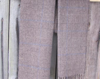 """Vintage Scarf; 100% Cashmere Scarf; Brown Tweed Pattern Club Room Scarf; Pure Cashmere Scarf 12"""" x 61"""" Fringed Scarf; Vintage Men's Scarf"""