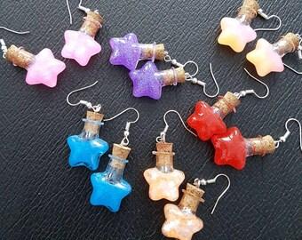 Custom Resin Star Potion Earrings - nickel free