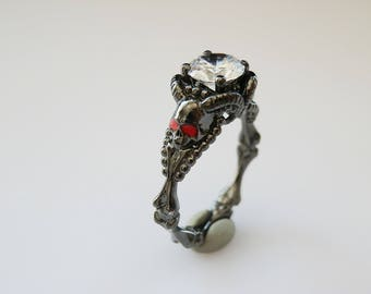 Skull Engagement Ring - Gothic Ring - Dainty Skull Ring - Stacking Ring - 925K Sterling Silver Ring - Design Ring - Christmas gifts