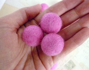 Felted Wool Balls x 20 - Dark Pink - 2cm - Felt Balls