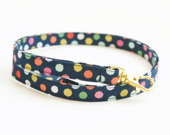 Navy Skinny Lanyard - Multi Colored and Metallic Gold Dots - Cute Thin Lanyard - 1/2 Inch Key Lanyard - Long Key Strap - Teacher Lanyard