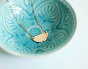 Gabrielle - Hammered Gold Half-moon Necklace