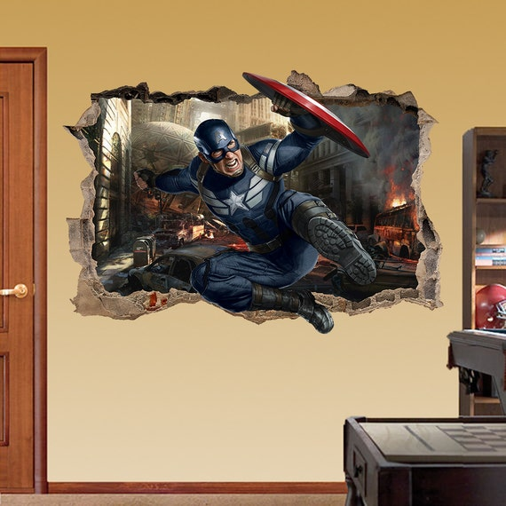 CAPTAIN AMERICA 3d Wall Sticker Smashed Bedroom Kids decor