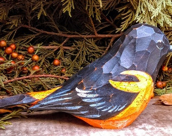 Wood Carved Bird (Baltimore Oriole)