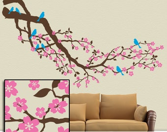 Tree Wall Decal, Cherry Blossoms Branch, Huge (Over 8 Feet) Woodland Nursery Cherry Tree Branch with Flowers and Birds (001610a8v)