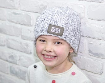 Knit beanie for toddler Hand knitted hat toddler Kids hat Cable beanie for kids Gray hat for toddler Gray chunky knit hat Gray wool knit hat