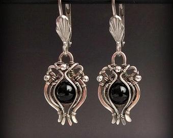 Black Onyx Earrings, Sterling Silver Earrings, Victorian Earrings, Vintage Style Earrings, Black Earrings, Goth Earrings, Dangle Earrings