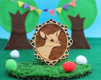 Wood laser cut brooch Adorable and cute little bambi deer fawn cameo