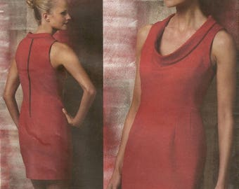 Vogue 1151 Misses Classic Low Cowl Neck Sheath Exposed Zipper Dress Sewing Pattern Size 6 - 8 - 10 - 12  Classically Stylish and Elegant