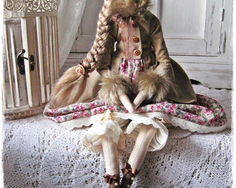 Tilda doll Miss Meghan in coat Textile Handmade Tilda doll OOAK Primitive Fabric doll Tilda style Home decor Gift for her