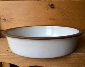 "Rare Heath Ceramics Opaque White Brown Open Casserole Serving Bowl 14.25"" Excellent XL"