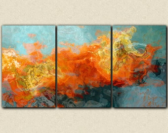 """Abstract art, 40x78 oversized triptych gallery wrap giclee canvas print, in orange and blue, from abstract painting """"Electric Illusion"""""""