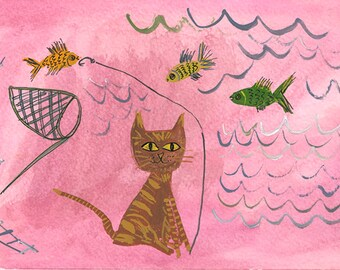Gone fishing.  Original watercolor painting by Vivienne Strauss.