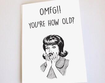 Funny greeting card, Birthday, OMFG, retro style