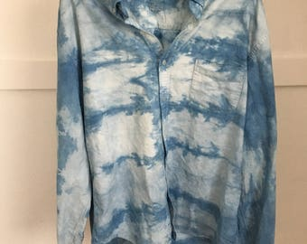 Indigo Shibori Men's Button Down Shirt Size XL