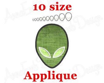 Alien Applique Embroidery design. Mini Alien. Machine Embroidery Design. Alien Face Embroidery design. UFO embroidery Design. Alien design.