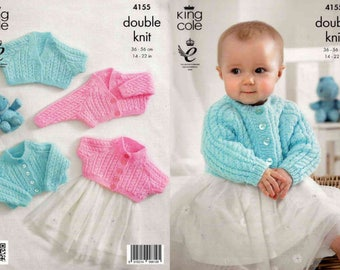 """King Cole Knitting Pattern 4155~Cabled Cardigans~DK~14-22"""""""