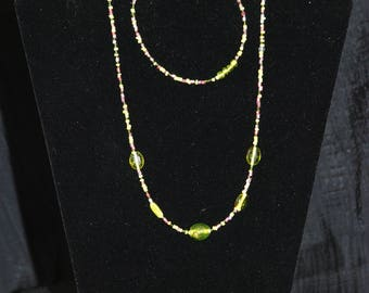 Green and Pink Delicate Necklace & Bracelet Set