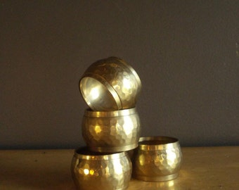 Shine for Your Table - Vintage Hammered Brass Napkin Rings - Set of Four 4