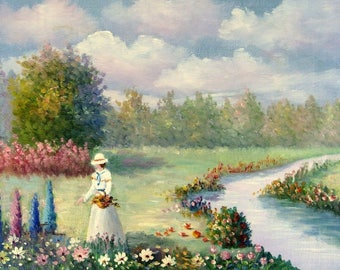 Walten Original Oil on Canvas Painting Woman in Garden by Stream Unstretched