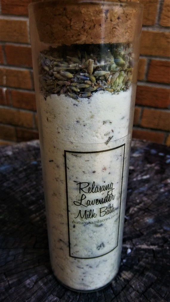Relaxing Lavender Milk Bath in a Cylinder Glass Container & a Cork Top