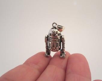 STAR WARS, Pendentif breloque, Bijoux, R2-D2, Pendentif en argent solide, Star Wars, Robot Droide, Charm bracelet, Figurine, Cadeau