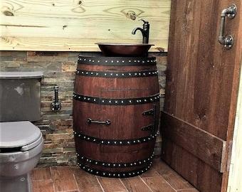 rustic bathroom vanities. rustic pine bathroom vanities brown marble tiles  floor wine barrel diy vanity