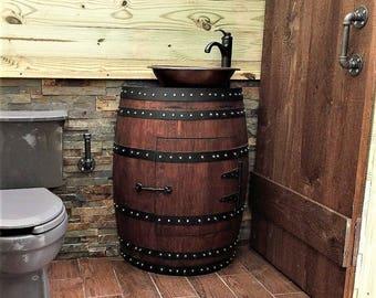 Wine Barrel Bathroom Vanity. Rustic Half Wine Barrel Bathroom Sink Vanity With Hammered Copper Sink And Faucet Mirror Not