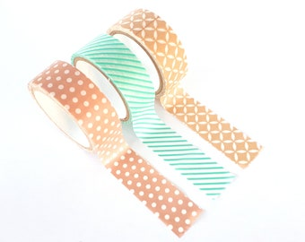 Set of 3 washi tapes, soft pastels (pink, mint & brown)