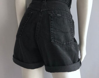 Vintage Women's 90's Chic, Black, Jean Shorts, High Waisted, Denim (L)
