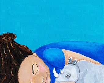You can sleep with me. Little girl with Rhinoceros. An original painting