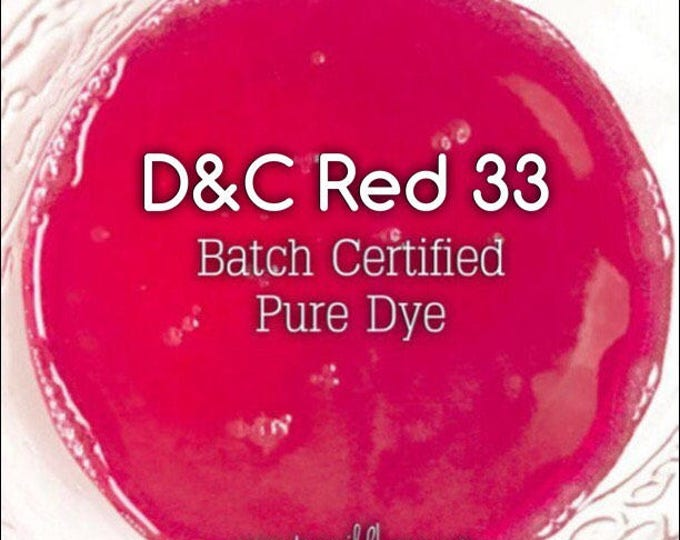 FUCHSIA Water Soluble DYE, Batch Certified D&C Red 33, 91% Pure Dye, Cosmetic Colorant, 1 oz