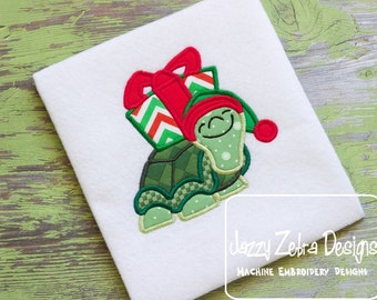Turtle with Present Appliqué embroidery Design - Christmas Appliqué Design - Turtle Appliqué Design - gift Applique Design - present