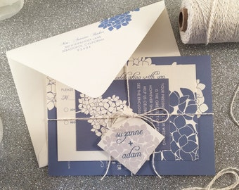 Hydrangea Wedding Invitation Suite, Sample, Silver Twine Tag, Spring Wedding Invitation, Blue Cream Floral Outdoor Wedding