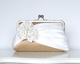 Roses Silk Clutch in Tan and Ivory, Wedding clutch, Wedding purse, Bridesmaid clutch