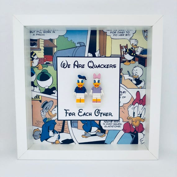 """Donald And Daisy Duck """"We Are Quackers For Each Other"""" Minifigure Frame"""