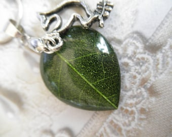 Green Skeleton Leaf Small Teardrop Pendant-Peace Dove Charm-Woodsy, Earthy-Symbolizes Peace, Tranquility, Serenity